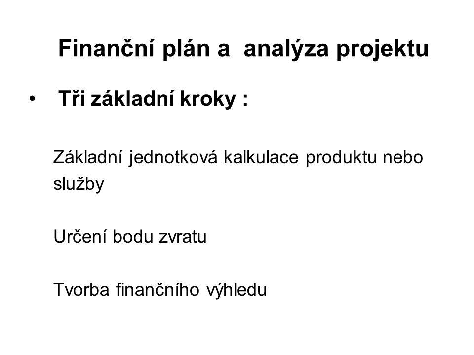 Finanční plán a analýza projektu