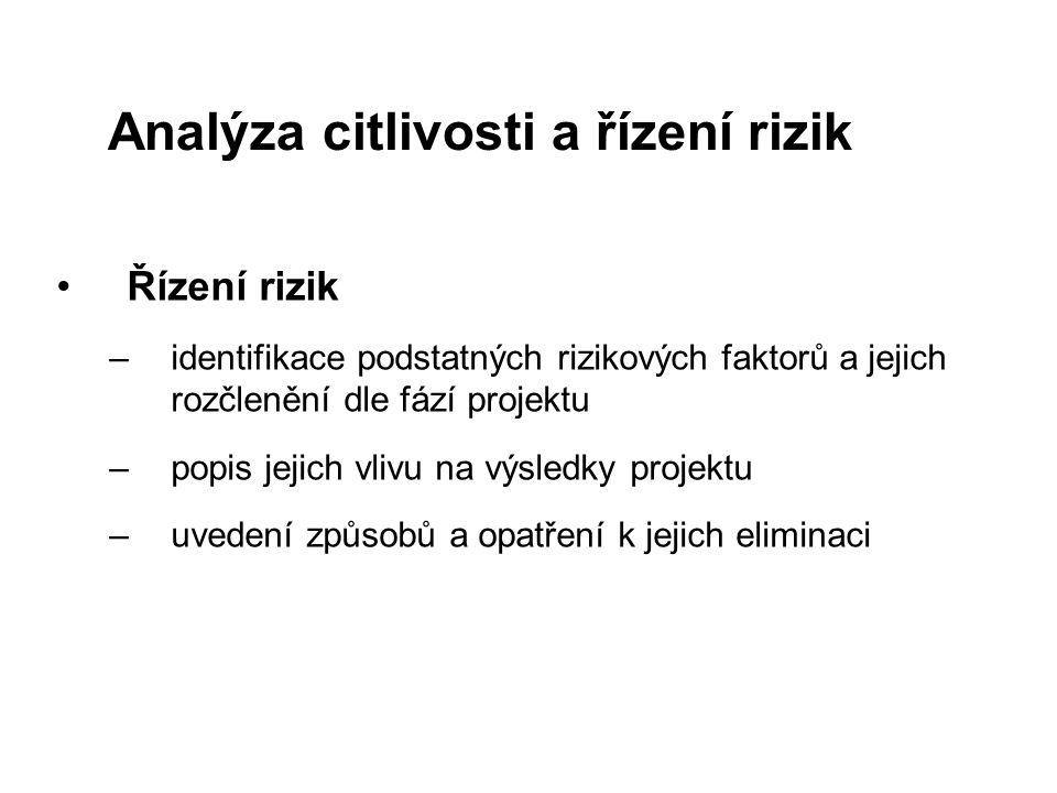 Analýza citlivosti a řízení rizik