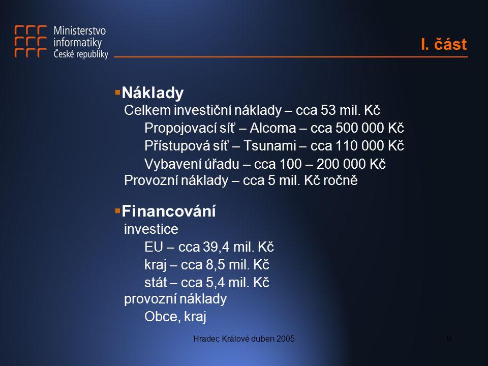 I. část Náklady Financování Celkem investiční náklady – cca 53 mil. Kč