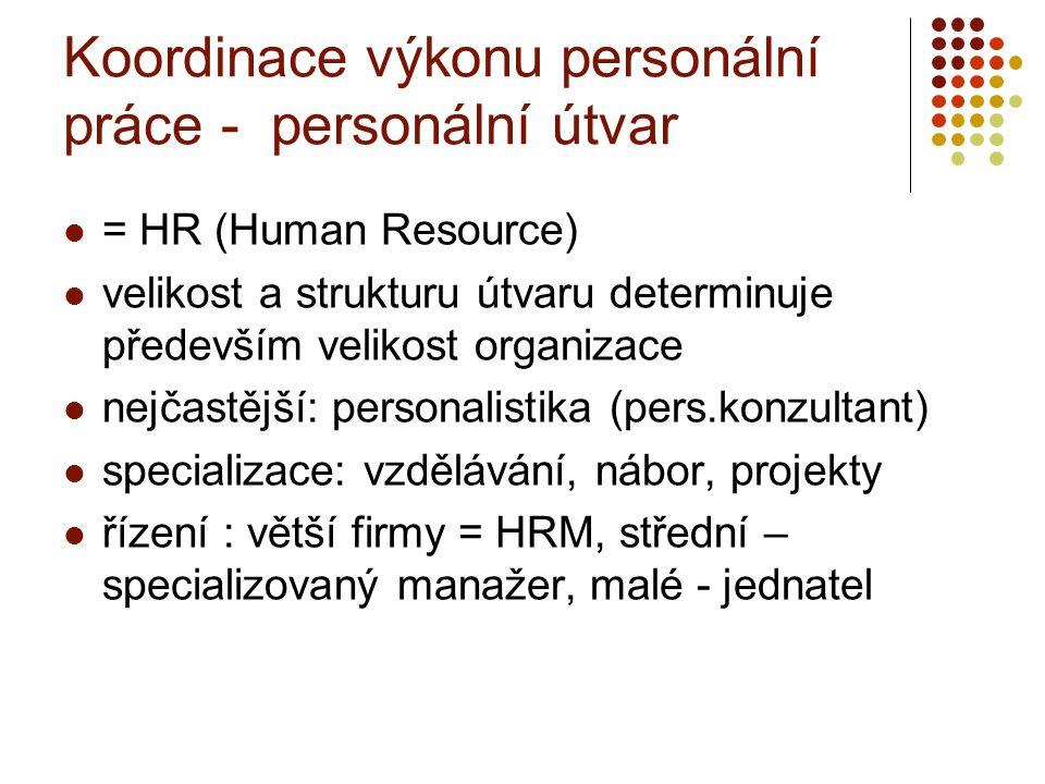 Koordinace výkonu personální práce - personální útvar