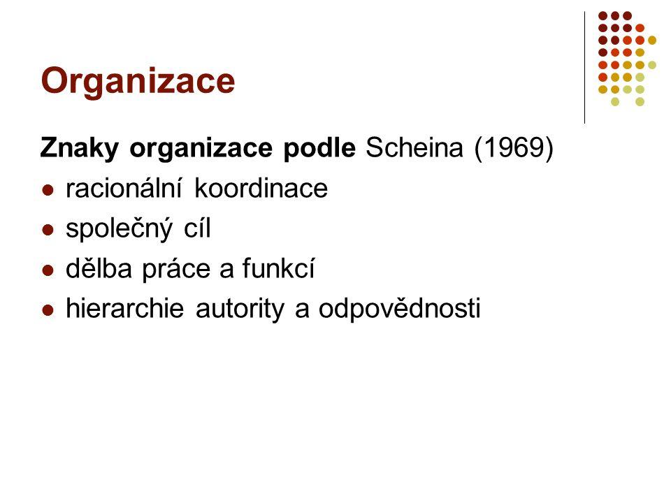 Organizace Znaky organizace podle Scheina (1969) racionální koordinace