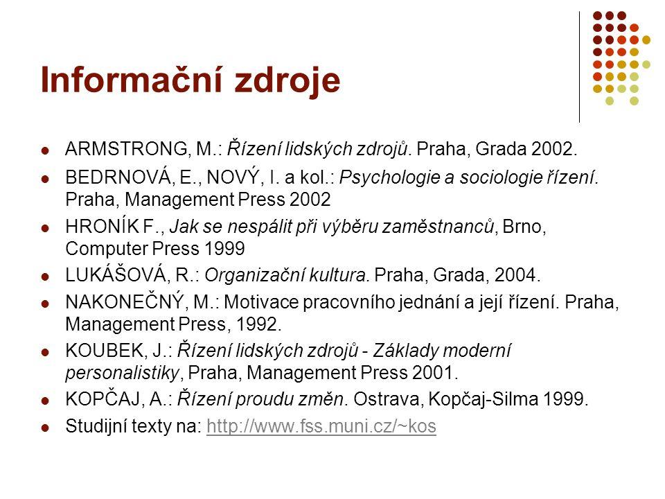Informační zdroje ARMSTRONG, M.: Řízení lidských zdrojů. Praha, Grada 2002.