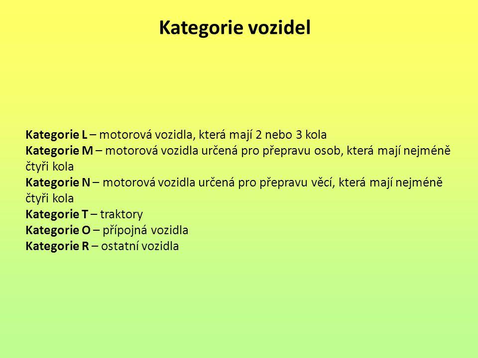 Kategorie vozidel Kategorie L – motorová vozidla, která mají 2 nebo 3 kola.