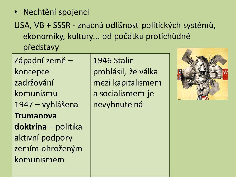 Nechtění spojenci USA, VB + SSSR - značná odlišnost politických systémů, ekonomiky, kultury... od počátku protichůdné představy.