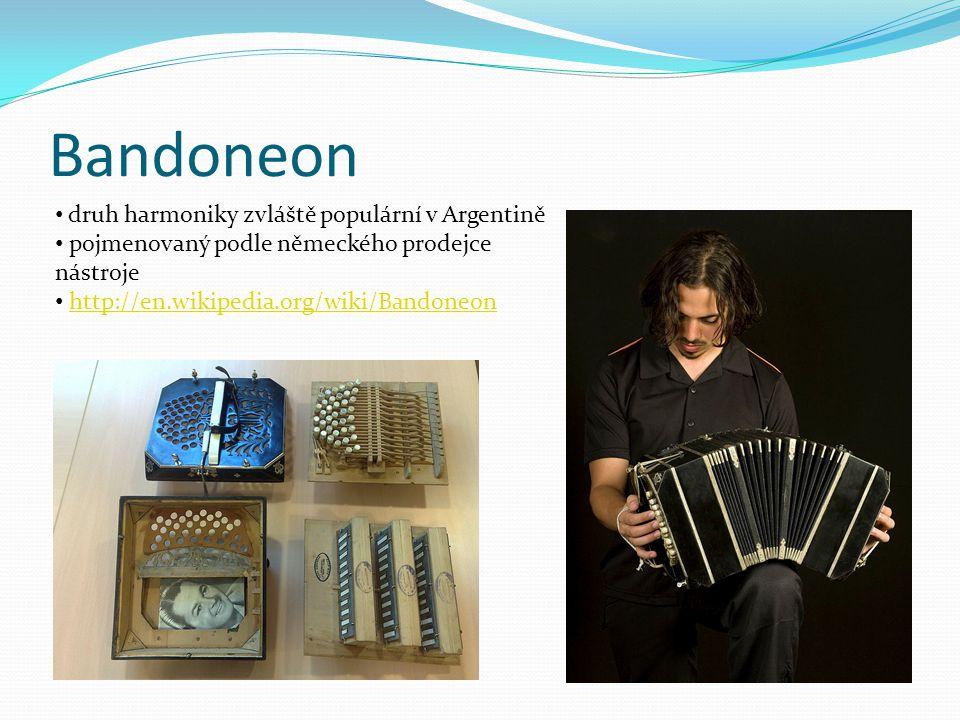 Bandoneon druh harmoniky zvláště populární v Argentině