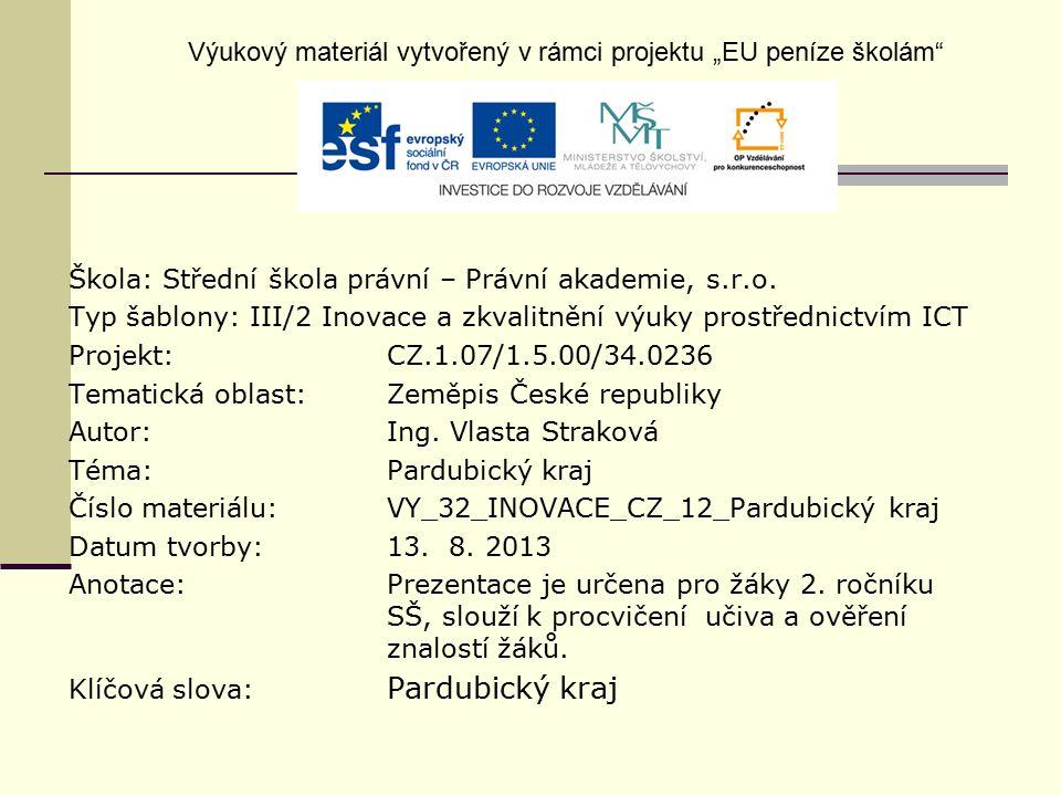 """Výukový materiál vytvořený v rámci projektu """"EU peníze školám"""