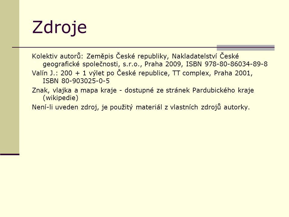Zdroje Kolektiv autorů: Zeměpis České republiky, Nakladatelství České geografické společnosti, s.r.o., Praha 2009, ISBN 978-80-86034-89-8.