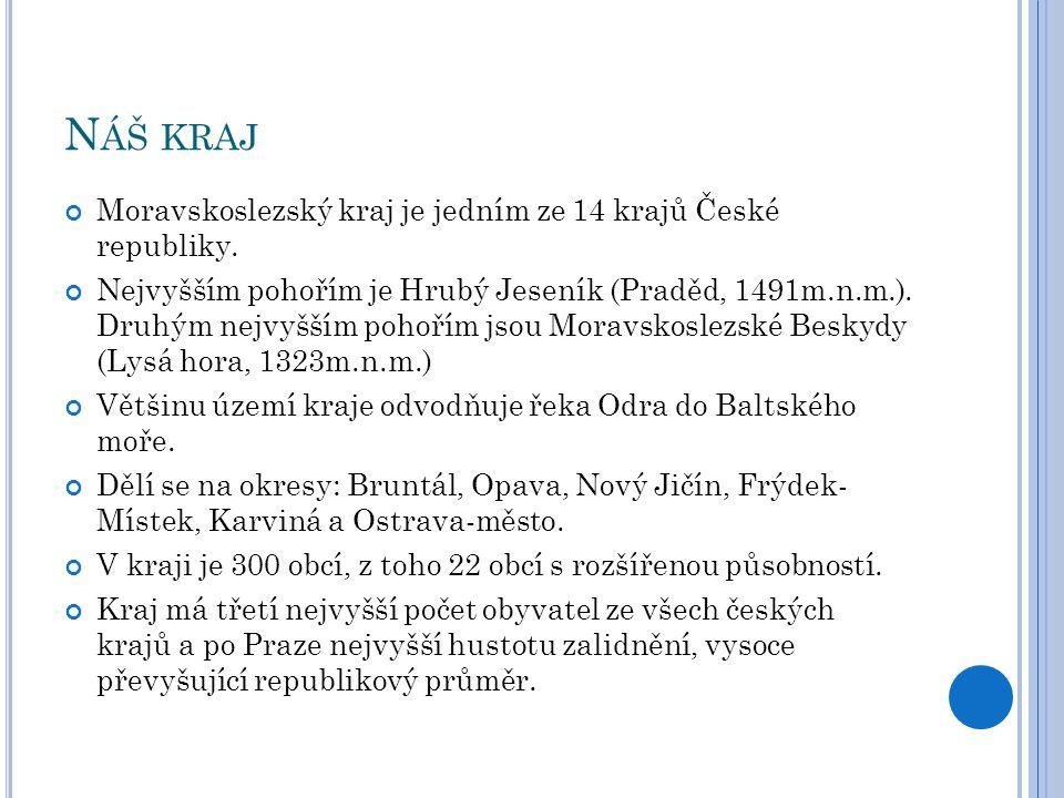 Náš kraj Moravskoslezský kraj je jedním ze 14 krajů České republiky.