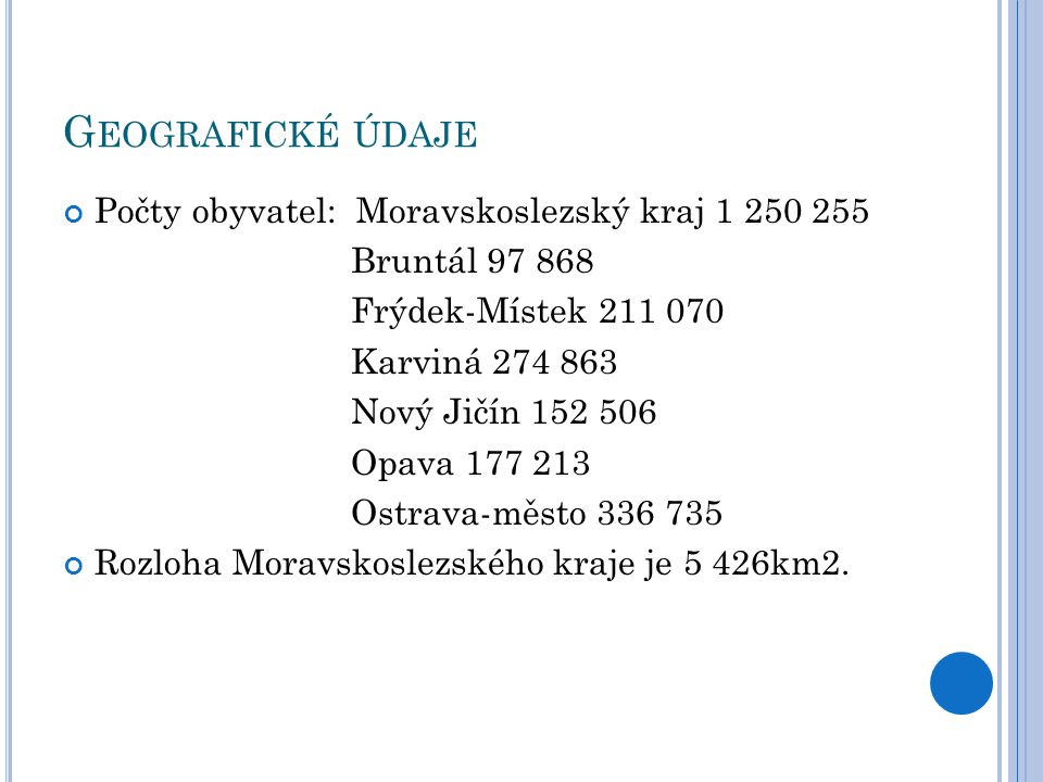 Geografické údaje Počty obyvatel: Moravskoslezský kraj 1 250 255