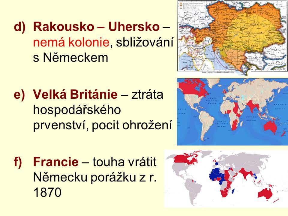 Rakousko – Uhersko – nemá kolonie, sbližování s Německem