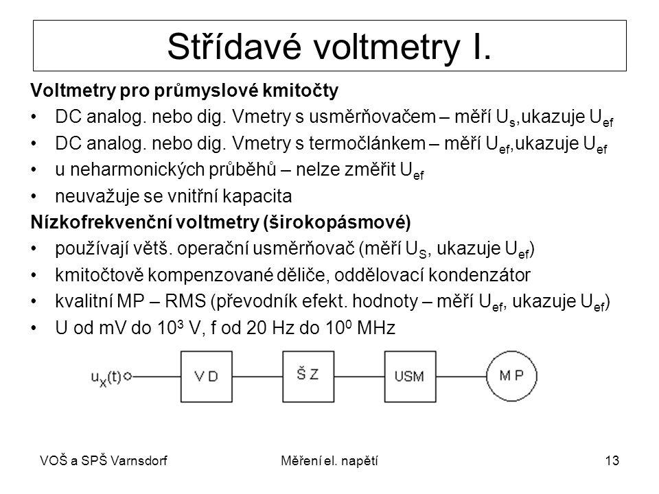 Střídavé voltmetry I. Voltmetry pro průmyslové kmitočty