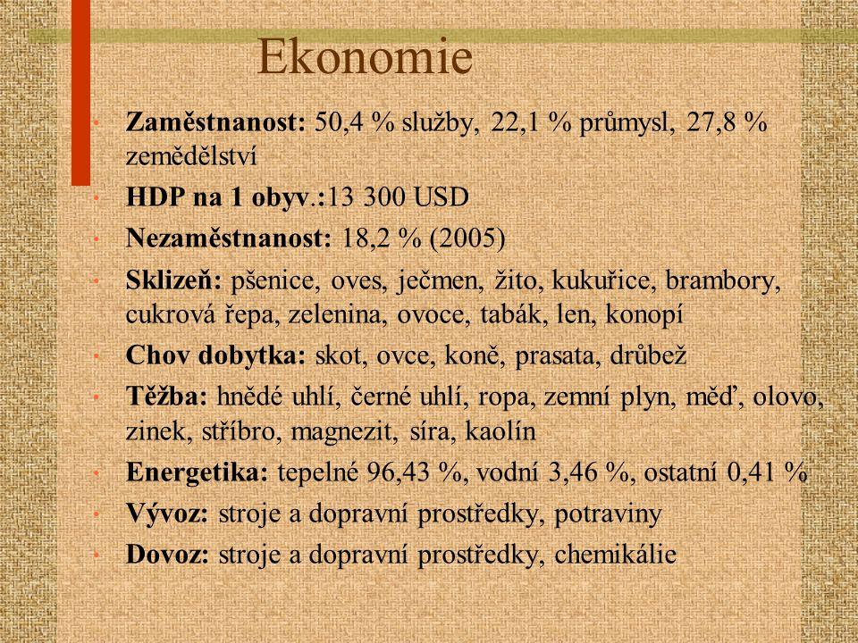 Ekonomie Zaměstnanost: 50,4 % služby, 22,1 % průmysl, 27,8 % zemědělství. HDP na 1 obyv.:13 300 USD.