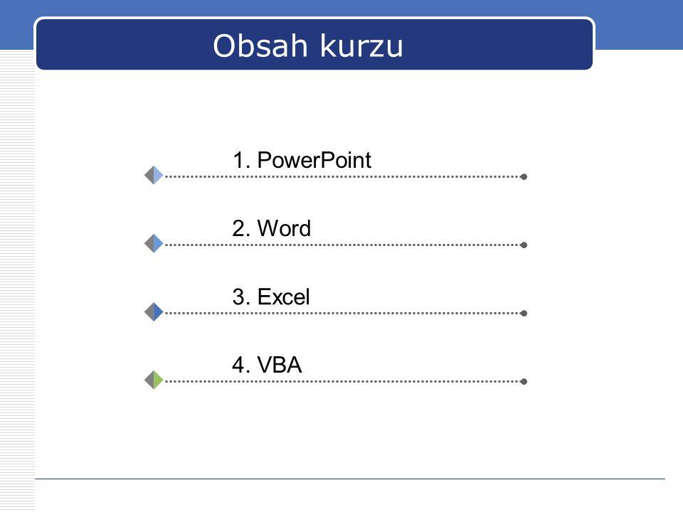 Obsah kurzu 1. PowerPoint 2. Word 3. Excel 4. VBA
