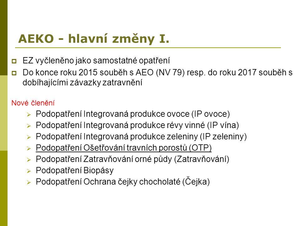 AEKO - hlavní změny I. EZ vyčleněno jako samostatné opatření