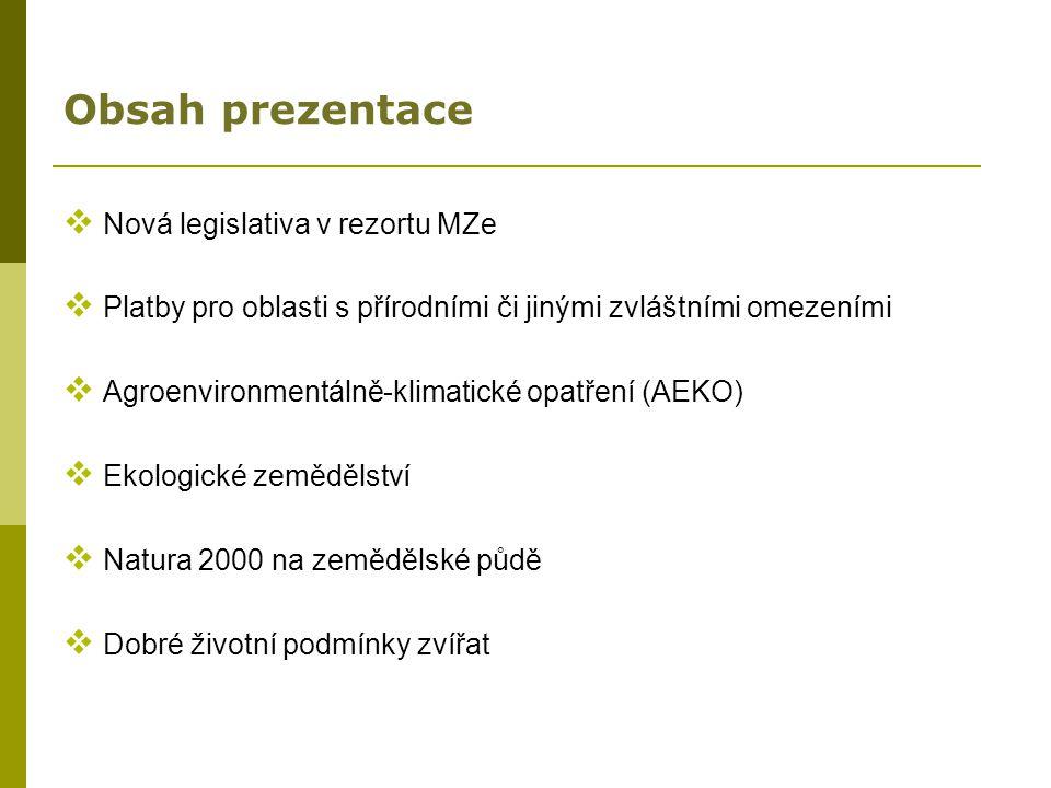 Obsah prezentace Nová legislativa v rezortu MZe