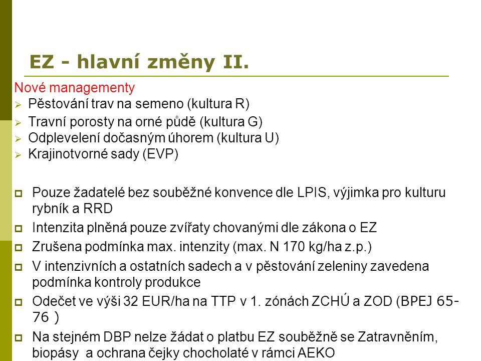 EZ - hlavní změny II. Nové managementy