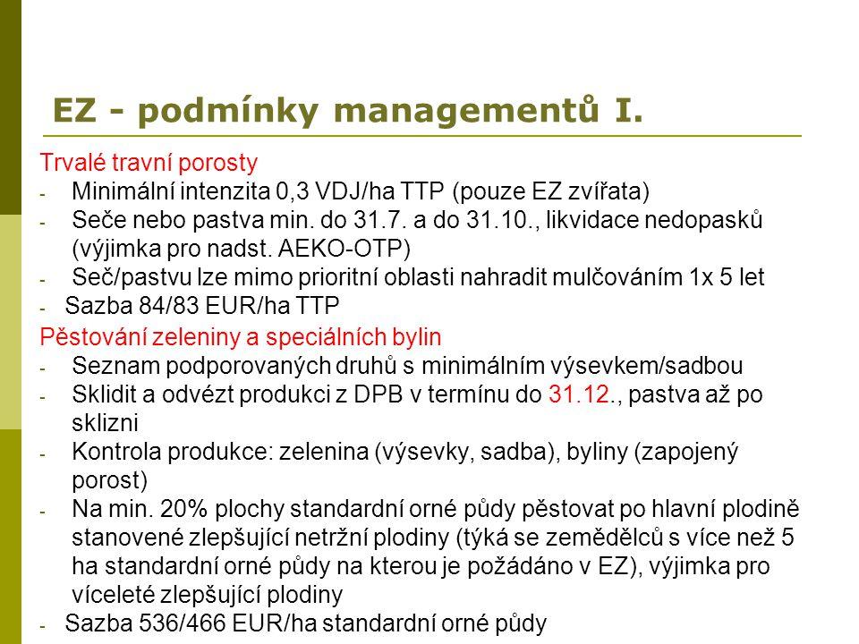 EZ - podmínky managementů I.