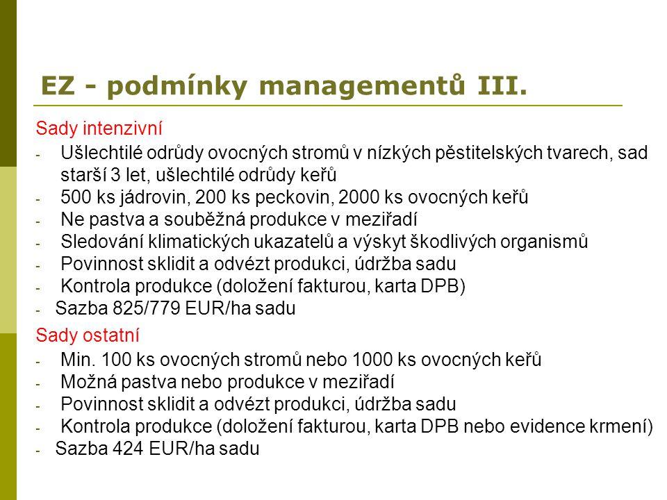 EZ - podmínky managementů III.