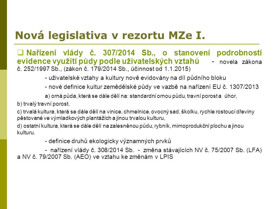 Nová legislativa v rezortu MZe I.