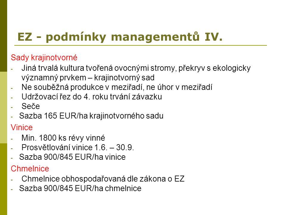 EZ - podmínky managementů IV.