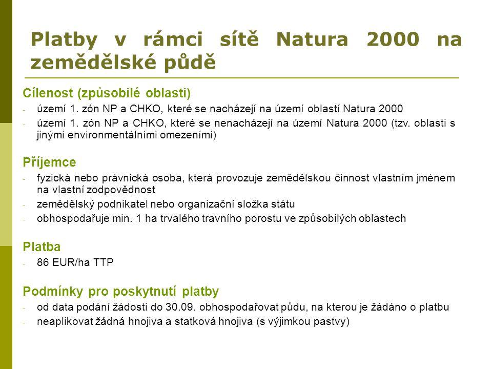 Platby v rámci sítě Natura 2000 na zemědělské půdě