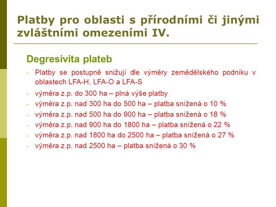 Platby pro oblasti s přírodními či jinými zvláštními omezeními IV.