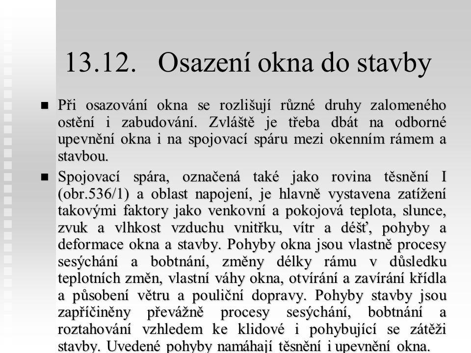 13.12. Osazení okna do stavby