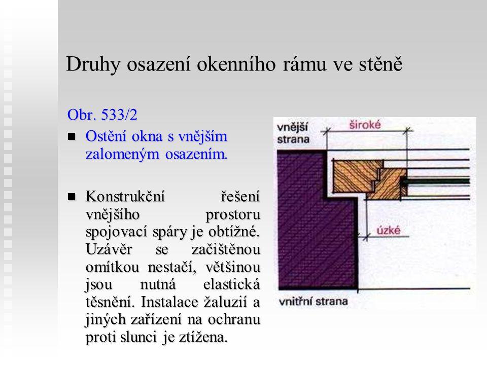 Druhy osazení okenního rámu ve stěně