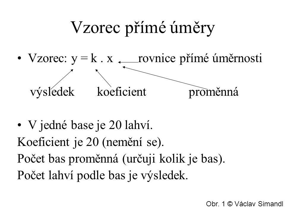 Vzorec přímé úměry Vzorec: y = k . x rovnice přímé úměrnosti