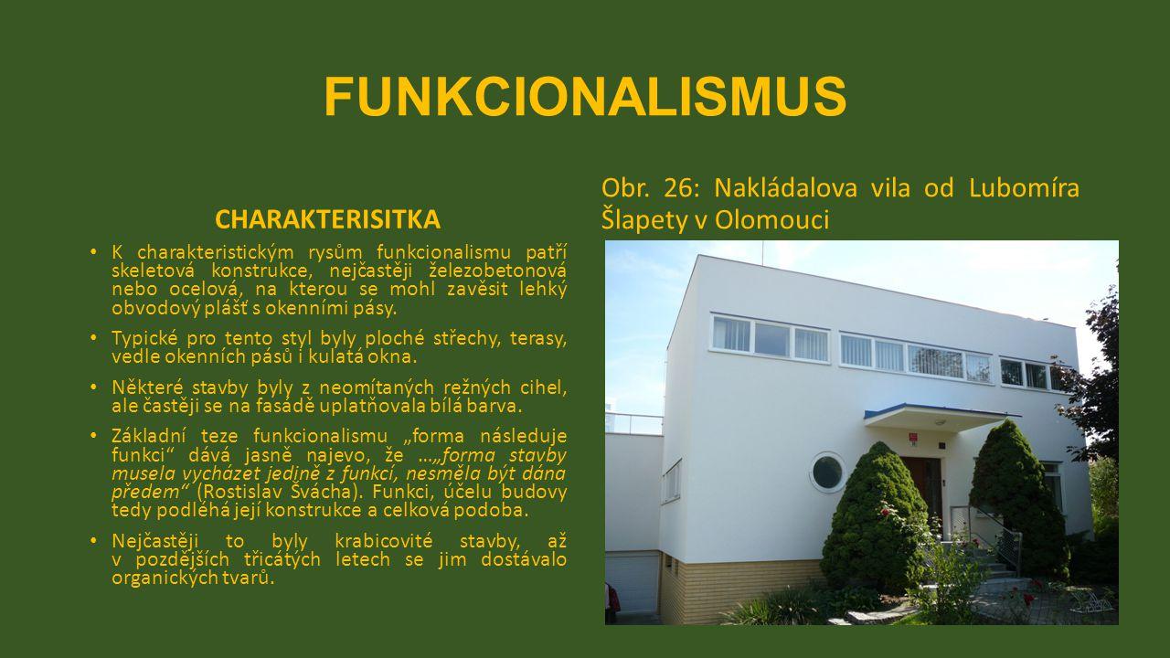 FUNKCIONALISMUS CHARAKTERISITKA. Obr. 26: Nakládalova vila od Lubomíra Šlapety v Olomouci.