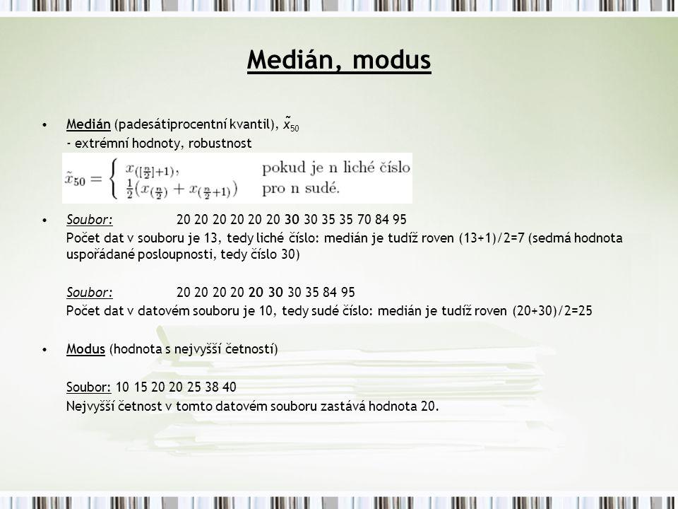 Medián, modus Medián (padesátiprocentní kvantil), x̃50