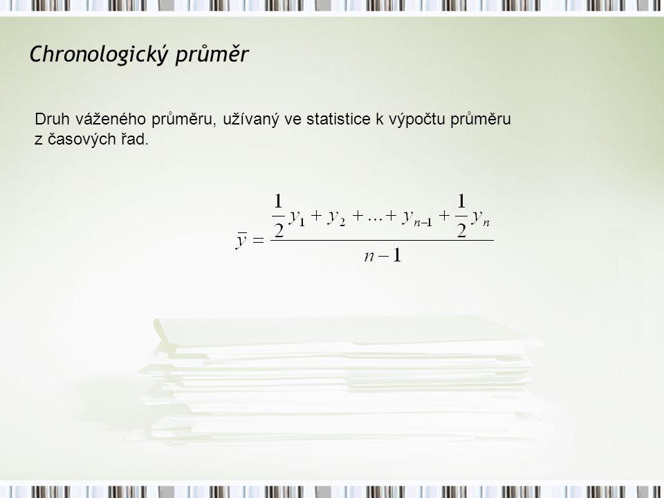 Chronologický průměr Druh váženého průměru, užívaný ve statistice k výpočtu průměru z časových řad.