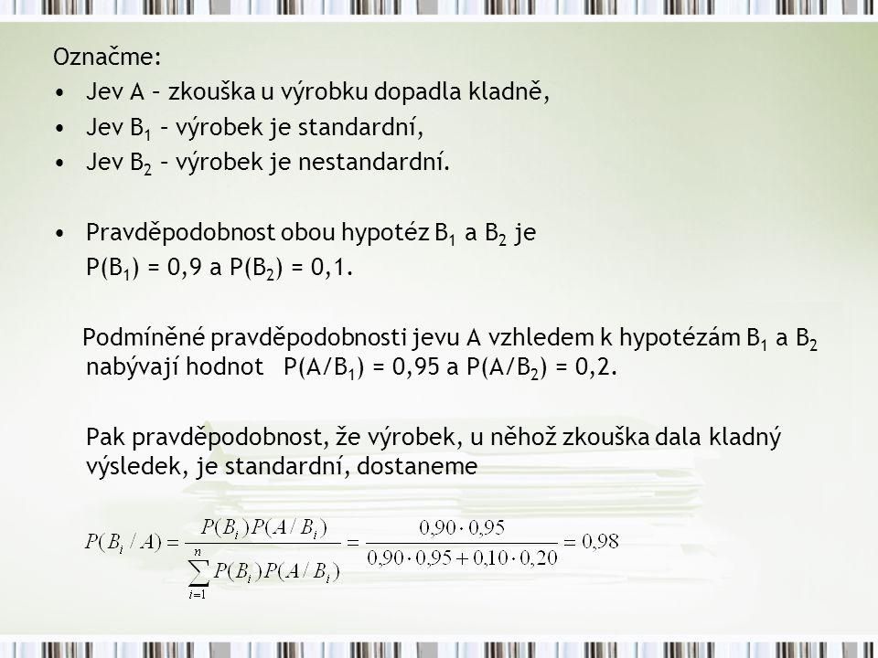 Označme: Jev A – zkouška u výrobku dopadla kladně, Jev B1 – výrobek je standardní, Jev B2 – výrobek je nestandardní.