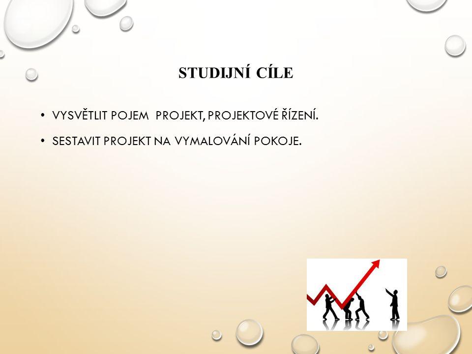 Studijní cíle Vysvětlit pojem projekt, projektové řízení.