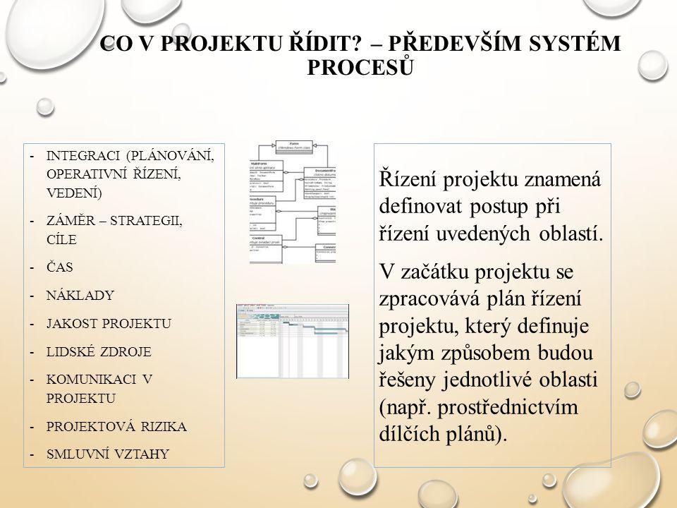 Co v projektu řídit – především systém procesů