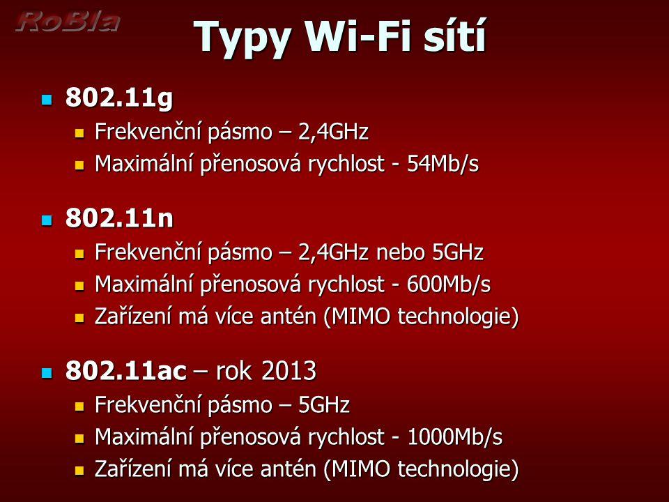 Typy Wi-Fi sítí 802.11g 802.11n 802.11ac – rok 2013