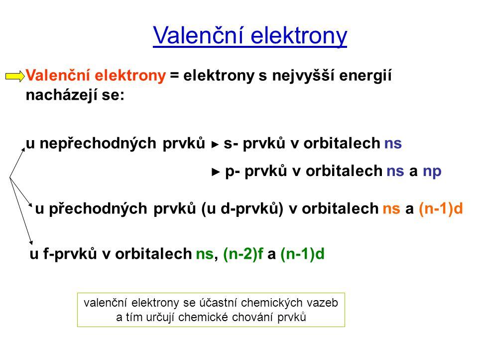 Valenční elektrony Valenční elektrony = elektrony s nejvyšší energií nacházejí se: u nepřechodných prvků ► s- prvků v orbitalech ns.