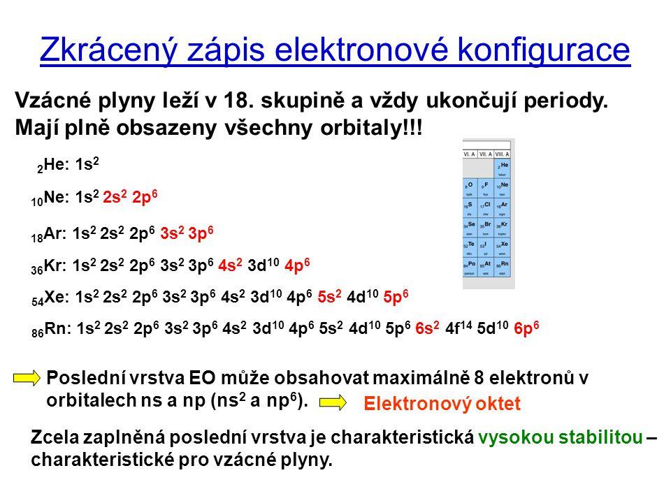 Zkrácený zápis elektronové konfigurace