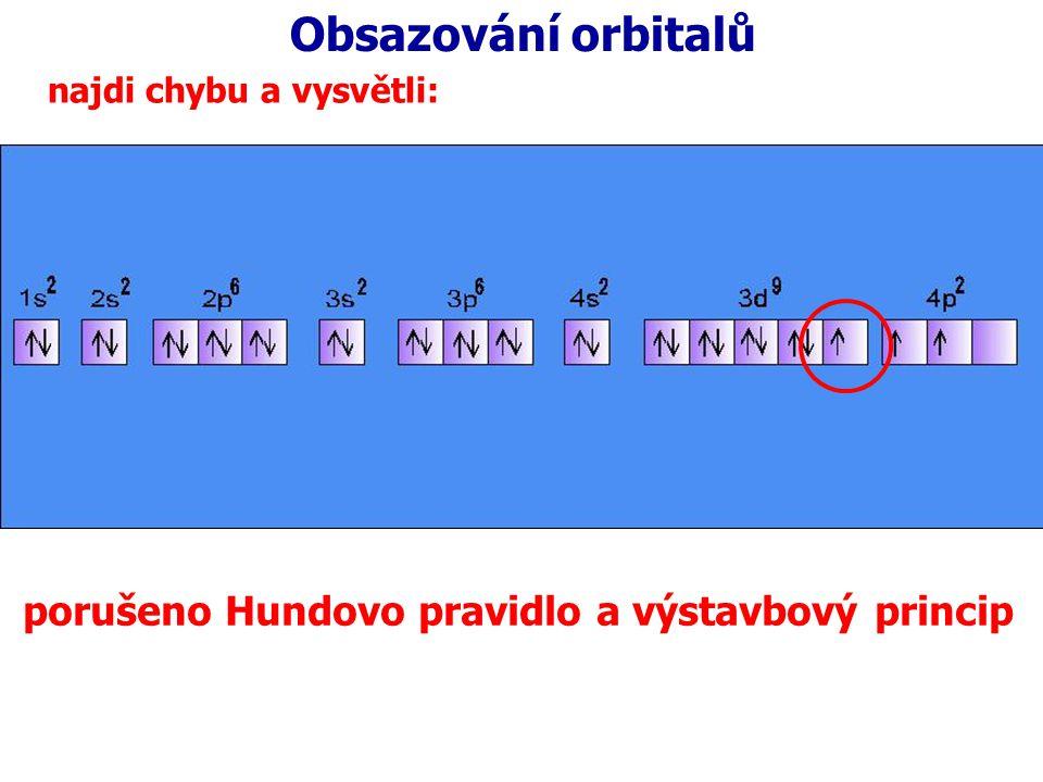 Obsazování orbitalů porušeno Hundovo pravidlo a výstavbový princip
