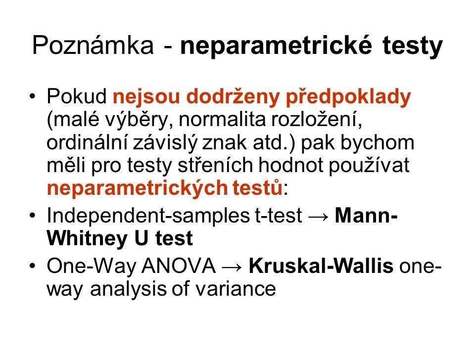 Poznámka - neparametrické testy