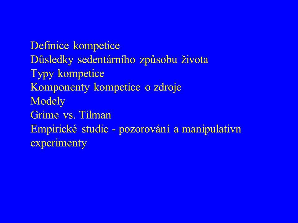 Definice kompetice Důsledky sedentárního způsobu života Typy kompetice Komponenty kompetice o zdroje Modely Grime vs.