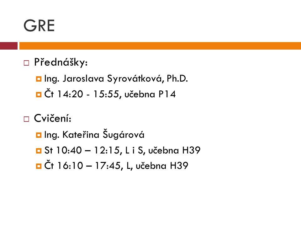 GRE Přednášky: Cvičení: Ing. Jaroslava Syrovátková, Ph.D.