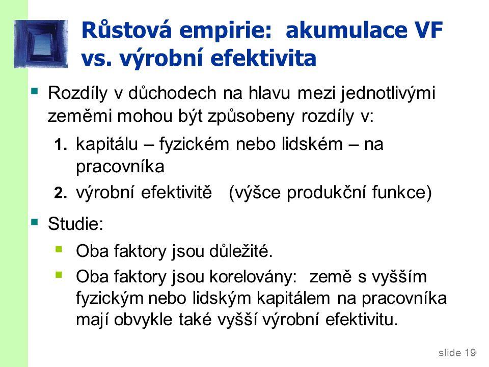 Růstová empirie: akumulace VF vs. výrobní efektivita
