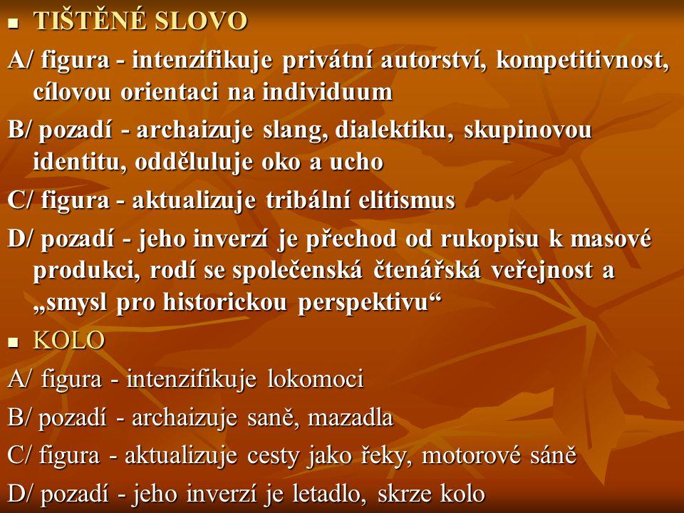 TIŠTĚNÉ SLOVO A/ figura - intenzifikuje privátní autorství, kompetitivnost, cílovou orientaci na individuum.