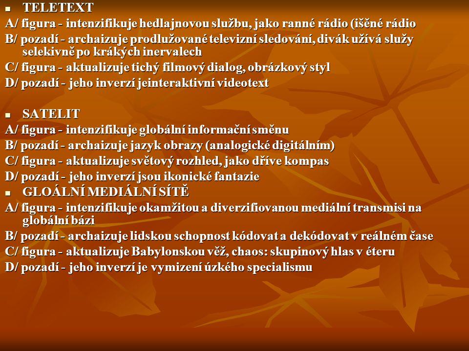 TELETEXT A/ figura - intenzifikuje hedlajnovou službu, jako ranné rádio (išěné rádio.