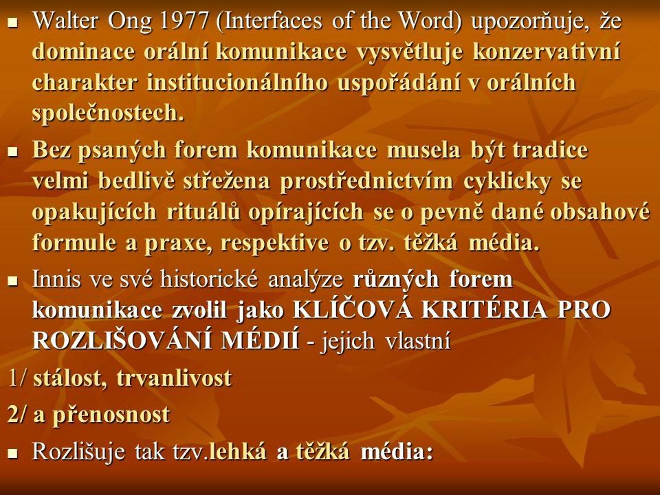 Walter Ong 1977 (Interfaces of the Word) upozorňuje, že dominace orální komunikace vysvětluje konzervativní charakter institucionálního uspořádání v orálních společnostech.