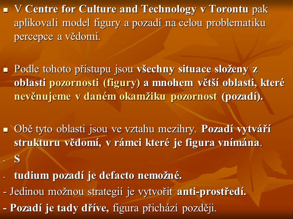 V Centre for Culture and Technology v Torontu pak aplikovali model figury a pozadí na celou problematiku percepce a vědomí.