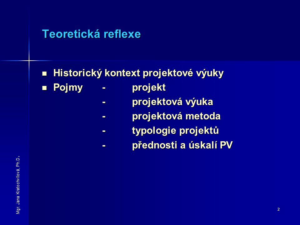 Teoretická reflexe Historický kontext projektové výuky Pojmy - projekt