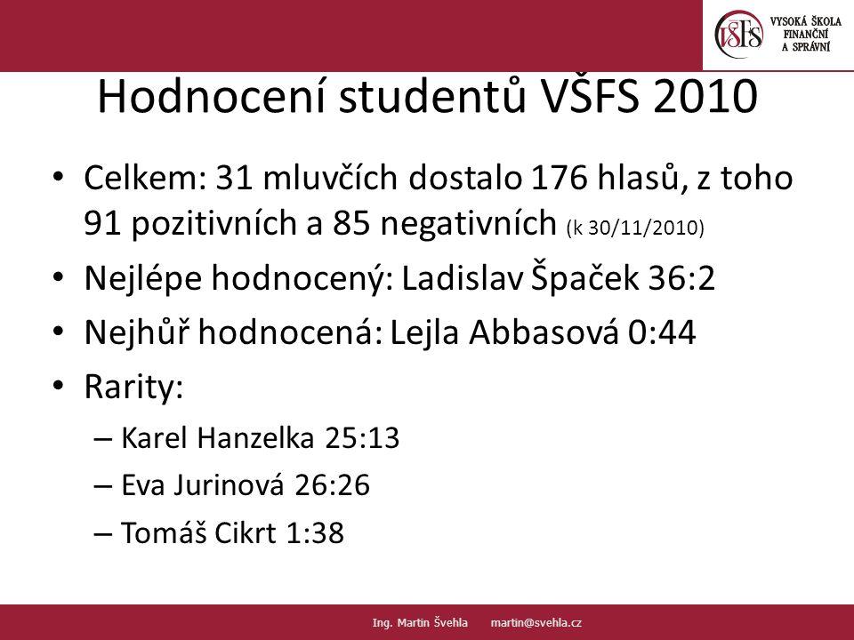 Hodnocení studentů VŠFS 2010
