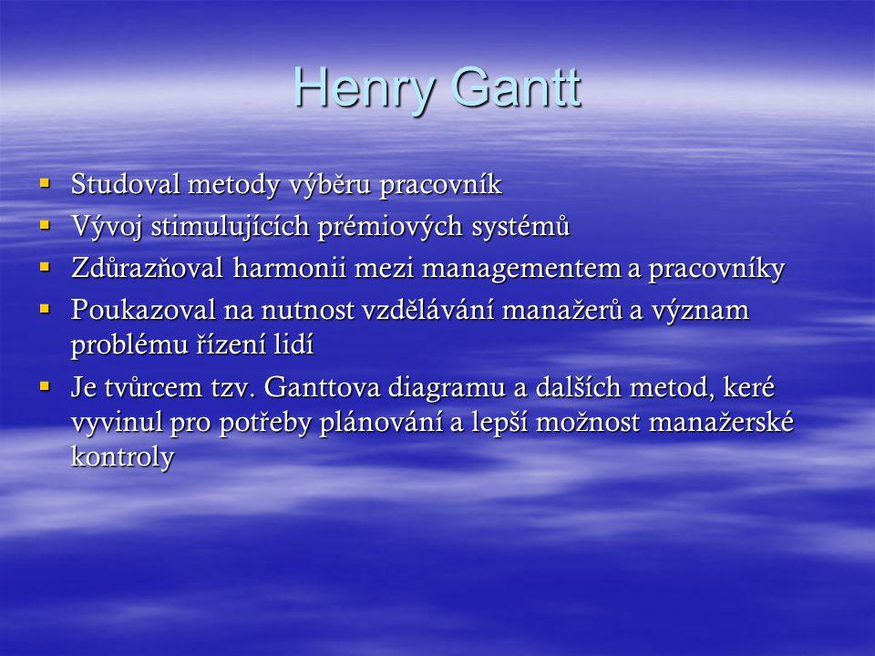 Henry Gantt Studoval metody výběru pracovník